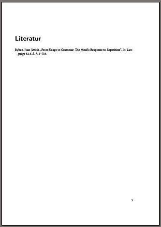 Seite mit dem Literaturverzeichnis