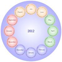Jahreszeiten-Kalender im Scheiben-Design