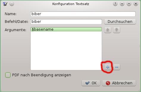 Konfiguration Textsatz