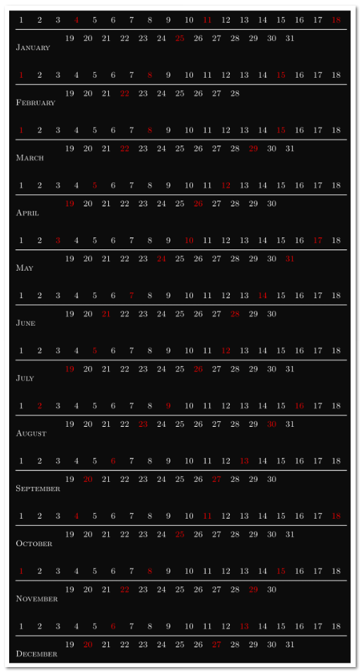 Kalender bis jetzt