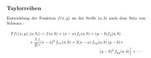 Eingerückte mehrzeilige Formel