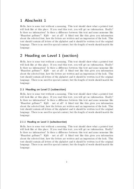 Ergebnis mit Abschnitten statt Kapiteln