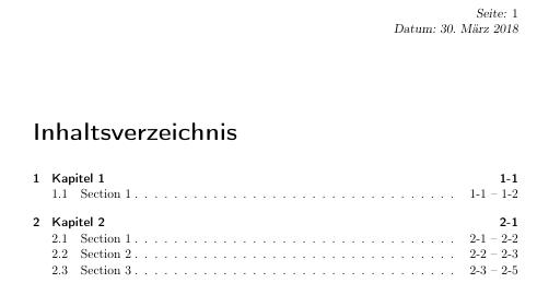Inhaltsverzeichnis mit Seitenbereichen