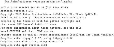 Ausgabe von pdflatex -version