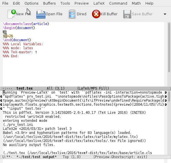 emacs mit preview, cursor im Bereich