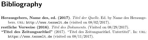 """Literaturverzeichnis mit fetten """"Labels"""""""