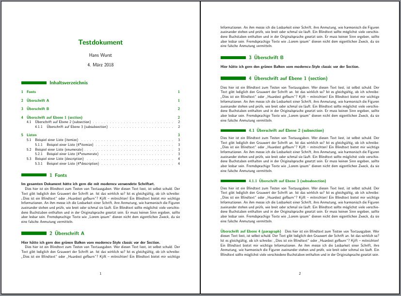 Beispiel mit Titel, Inhaltsverzeichnis und ein paar Abschnitten