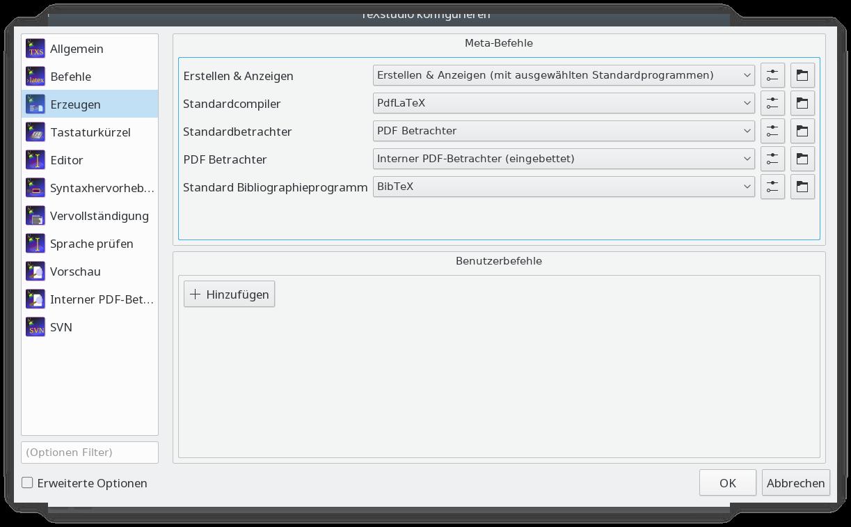 TeXstudio konfigurieren mit Auswahl von BibTeX