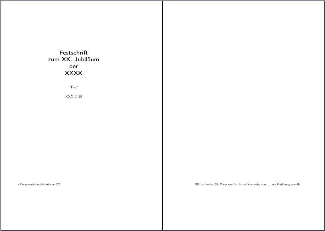Doppelseite mit Haupttitel und Impressum