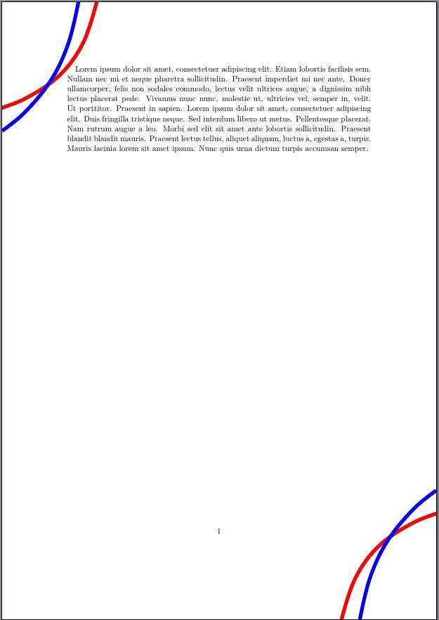 Beispielseite mit Linien in den Ecken