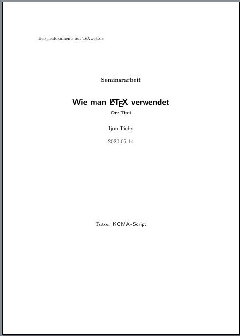 erweiterter Titel mit KOMA-Script-Klassen