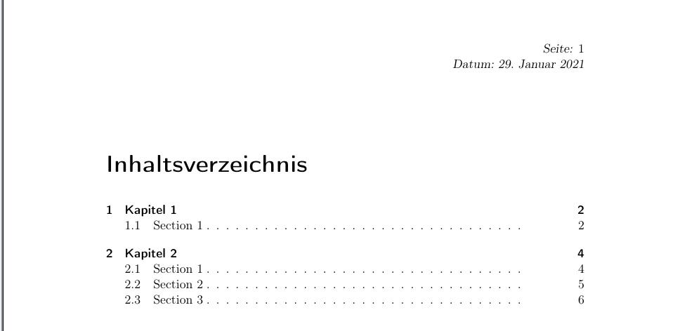 Inhaltsverzeichnis ohne Seitenbereiche