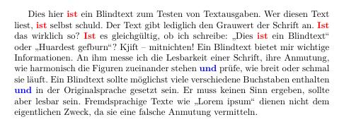 Ausgabe Text mit formatierten Wörtern